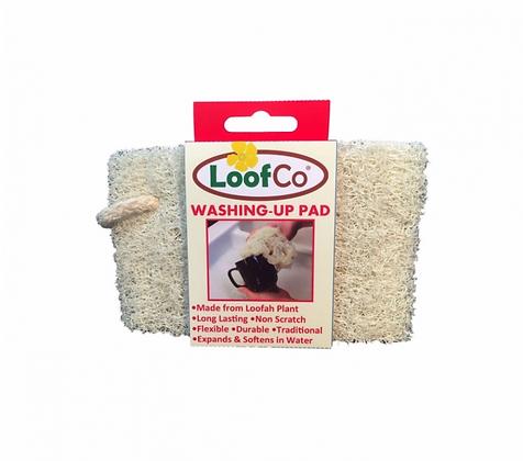 Front view of loofah in cardboard packaging