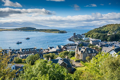 Aerial view of small town Oban in Scotla