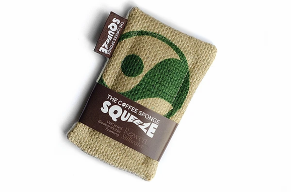 Sponge made from no longer required hessian sacks from the coffee trade wrapped in small cardboard tube with the word Squeeze