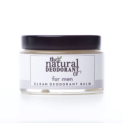 Clean deodorant balm in glass jar by the natural deodorant company