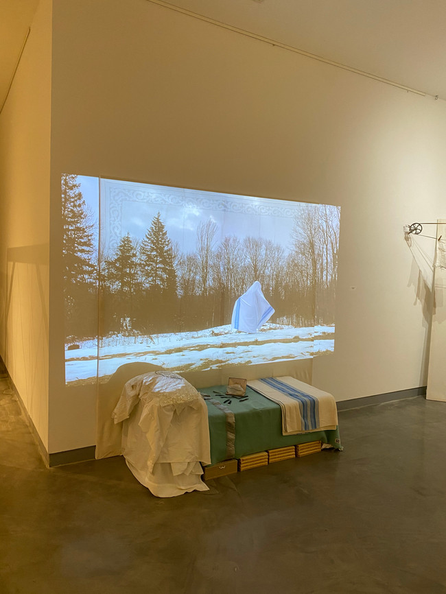 """Video Still from """"How Do You Make Your Bed"""", in installation """"Room Innate"""" 2020"""