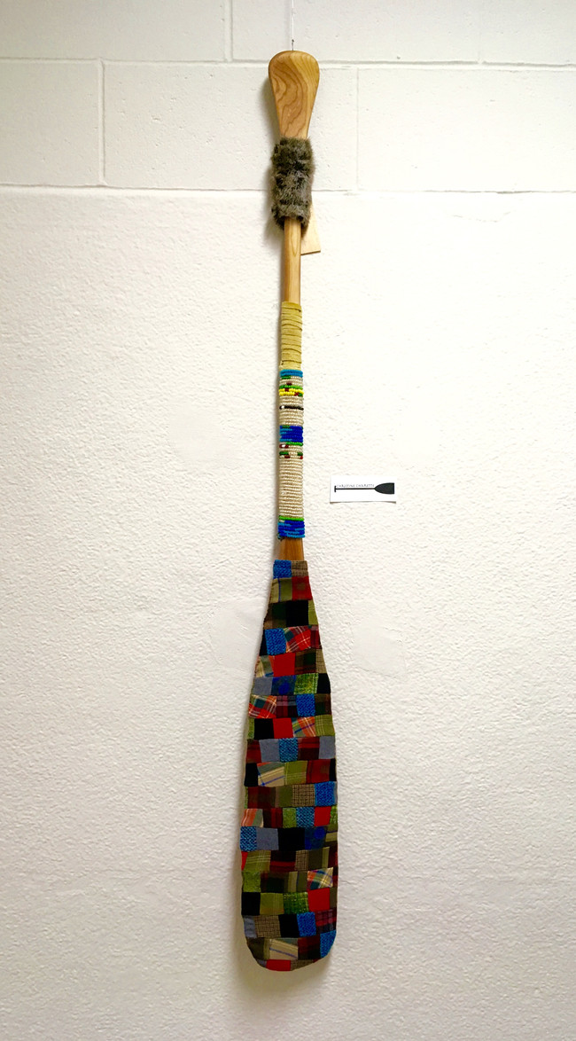 Métis Wanderings...Gathering Up the Pieces- Wool, Glass Beads, Fur on Paddle