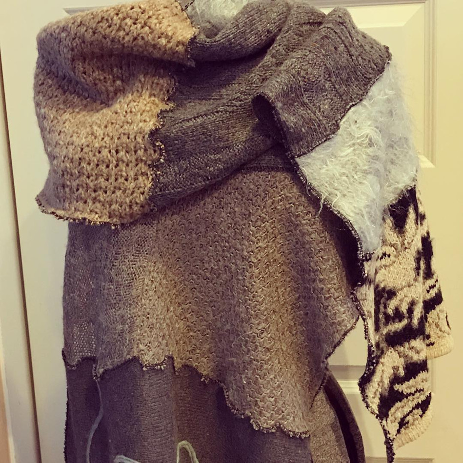 Upcycled One-of-a-Kind Knit Wrap Scarves