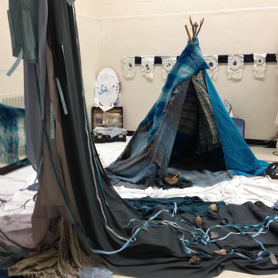 My Métis Healing Camp -Installation at NRCC Project Space for Art Jam, 2016