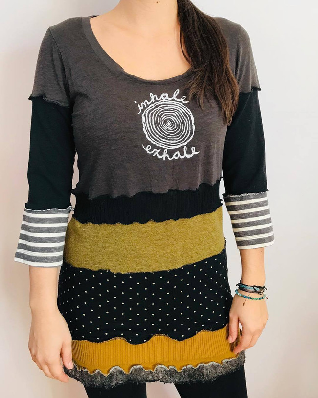 Upcycled One-of-a-Kind Tunic with Handprinted Screenprint