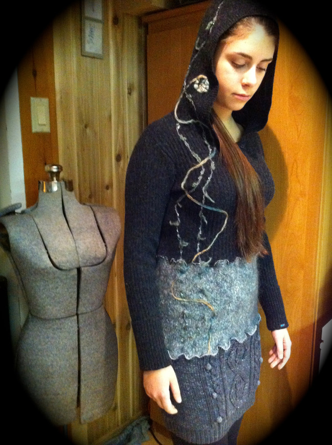 Upcycled One-of-a-Kind Yarn Appliqué Sweater Dress