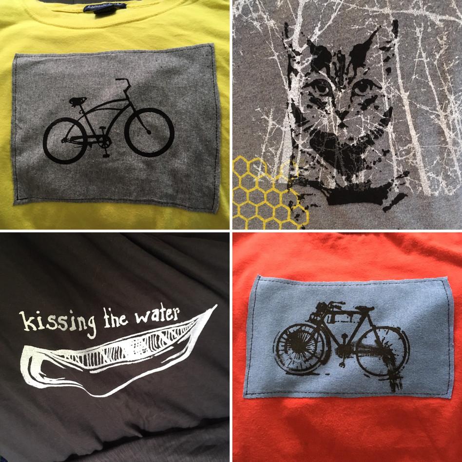 Handprinted Silk Screen Designs on T-shirts