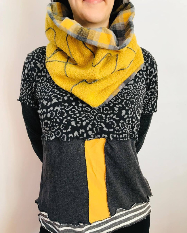 Wool and Flannel Appliqueé Neck Cowl with Upcycled Top