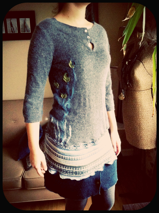 One-of-a-kind Upcycled Sweater Dress with Appliqué