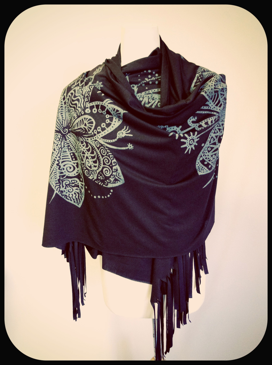 Hand Screen Printed Jersey Shawl