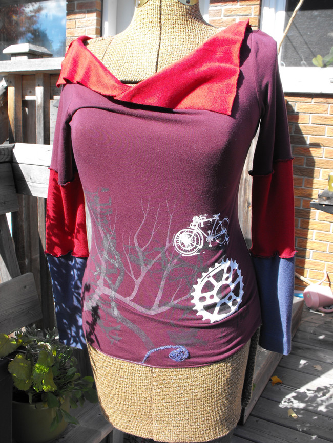 Upcycled One-of-a-Kind Long Sleeve Top with Multiple Handprinted Screenprints