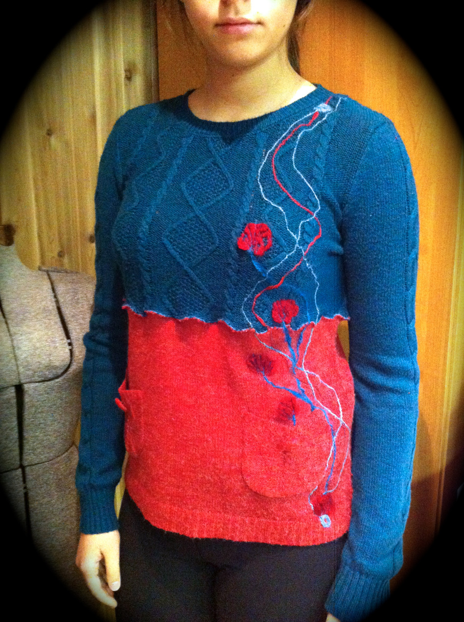 Upcycled One-of-a-Kind Yarn Appliqué Sweater