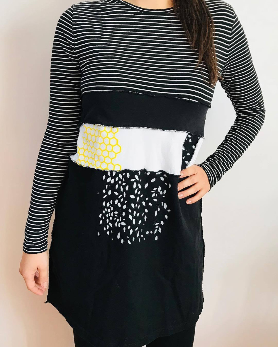 Upcycled One-of-a-Kind Tunic with Hand Printed Screen Print