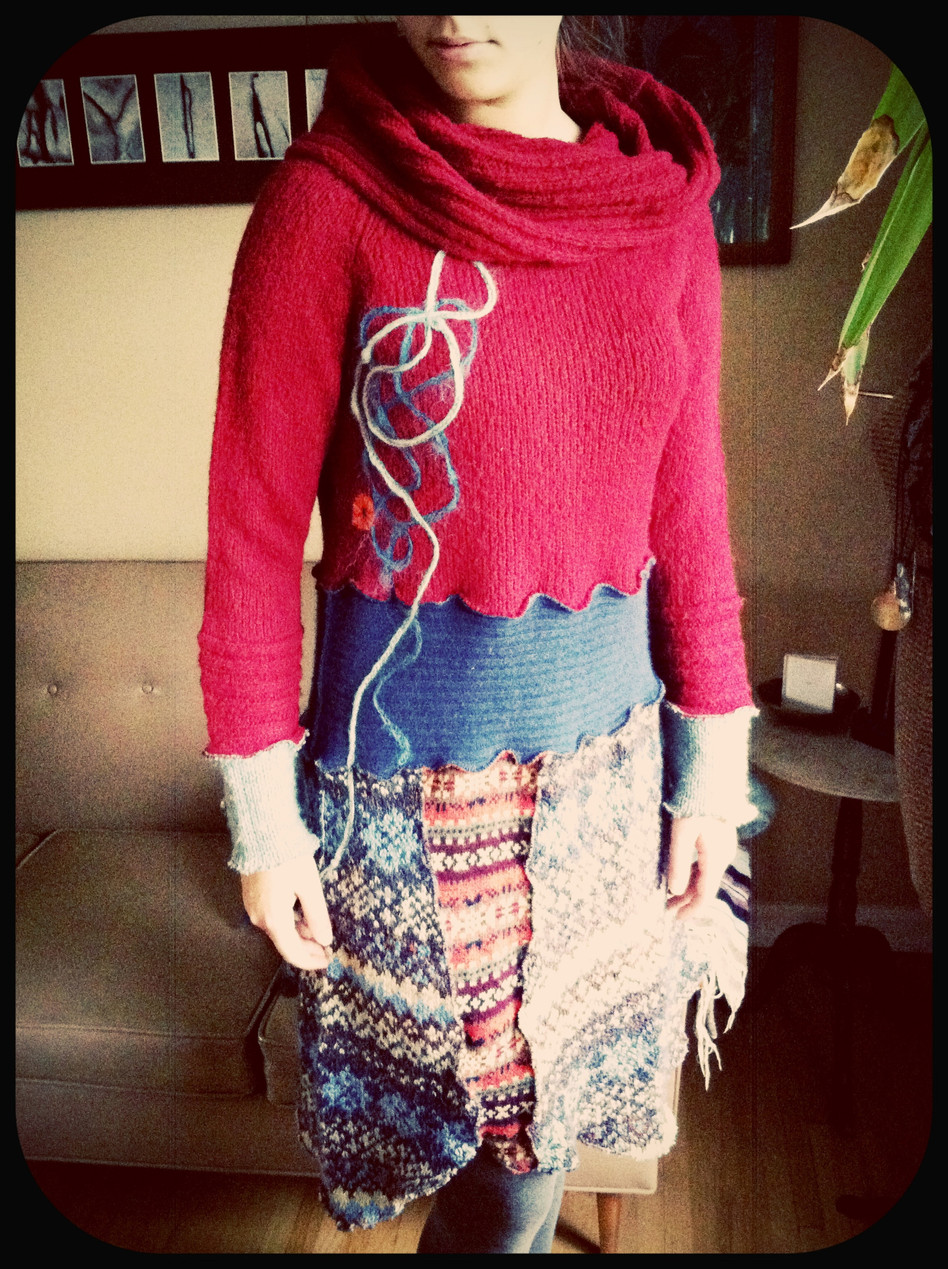 Upcycled Yarn Appliqué Sweater Dress