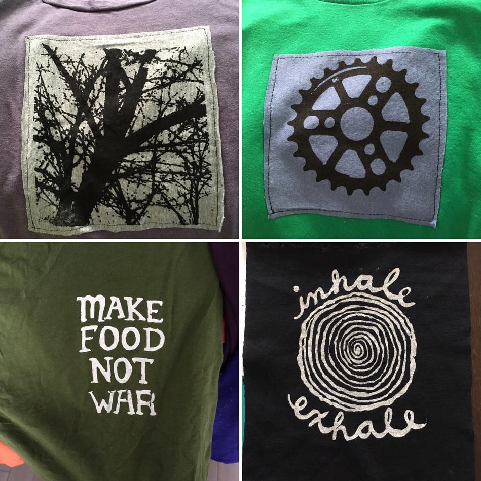 Handprinted Silk Screen Designs on T-shirts