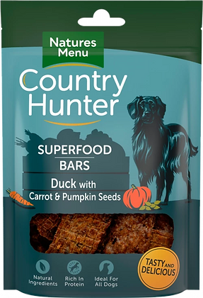 NATURES MENU COUNTRY HUNTER SUPERFOOD BARS 100G DUCK