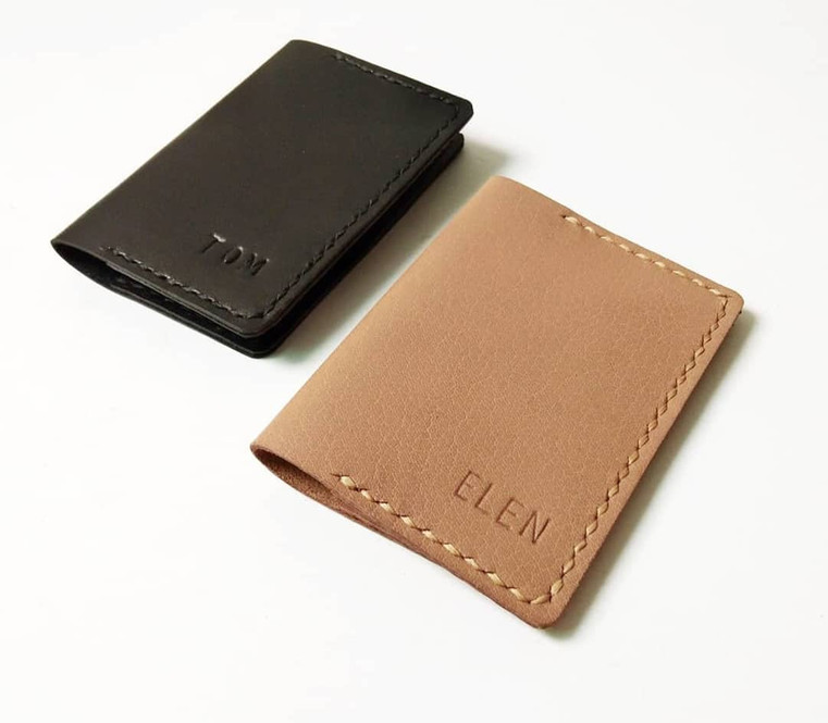 Bifold Card Holder Personalized Leather