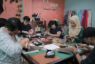 Coralc Atelier Leather Crafting Workshop Malaysia Clutch Making