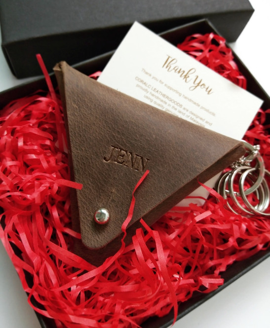 triangle coin pouch coralc atelier leath