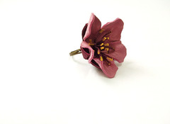 Leather Flower in Ring