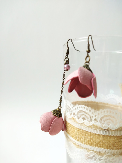 Leather Flower in Earrings