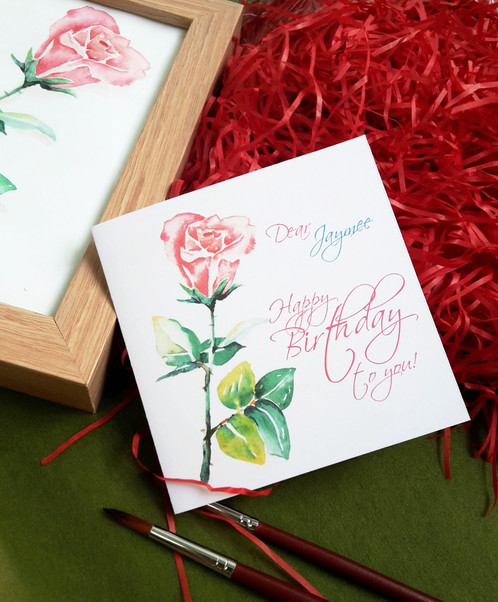 Personalized greeting card rose m4hsunfo