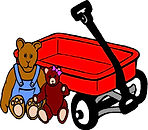 childs wagon and toys