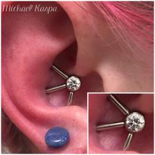 custom industrial piercing, custom conch piercing
