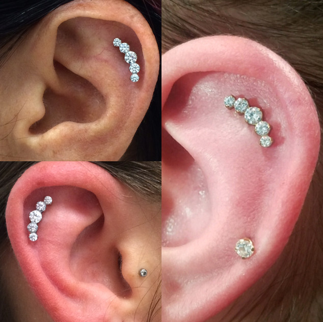 helix piercing with cluster