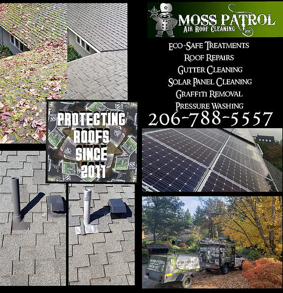 Moss Patrol Air Roof Cleaning Roof Repair Vent & Pipe Boot Replacement Solar Panel Cleaning