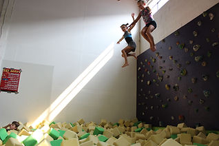 Jumping off Climbing wall