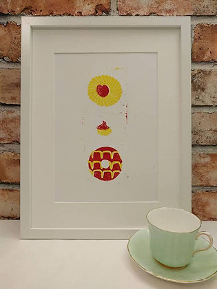 Hand-Printed Biscuit Print - A4