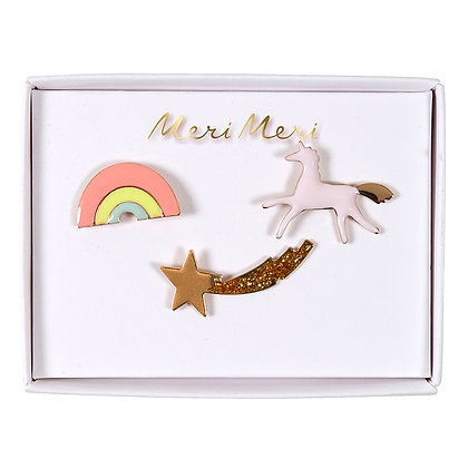 Unicorn, Rainbow & Shooting Star Enamel Pins