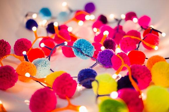 Pom Pom Fairy Lights - Rainbow