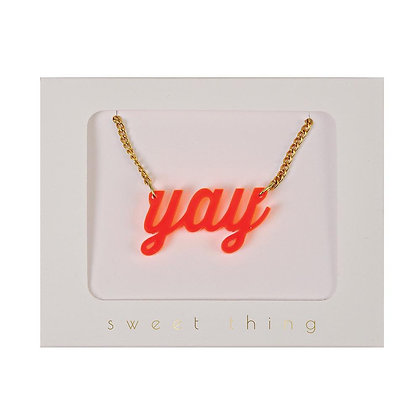 Yay Necklace - Neon Orange