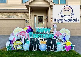 Columbus, Ohio Happy Birthday Sign Flamingos