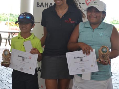 Aidan Gorospe and Kaydence Yepa shoot a team score of 74 to win the Bahamas First Junior Open