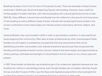 HISTORY OF NATIONAL BRAIDERS DAY