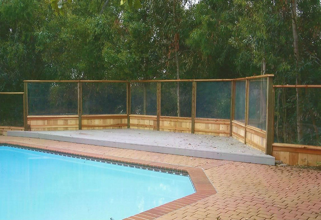 Glass Fence with Wood Frame