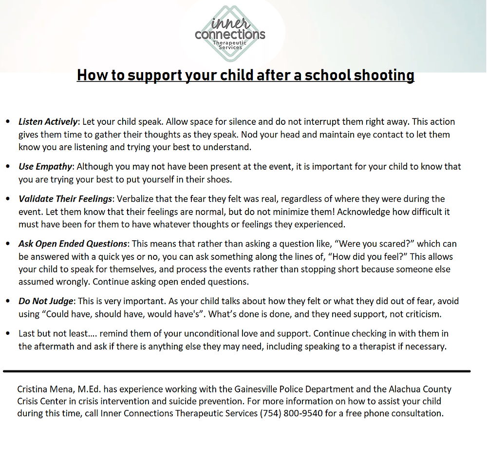 How to support your child after a school shooting