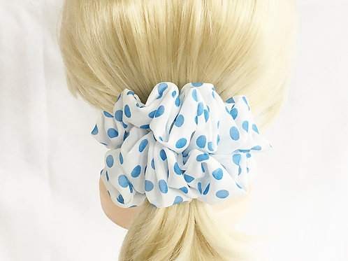 Chiffon scrunchies polka dot large size-Ponytail holder-Hair tie accesso