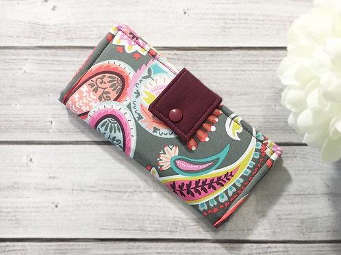 Women's wallet,Slim Bifold wallets, Unique fabric wallet