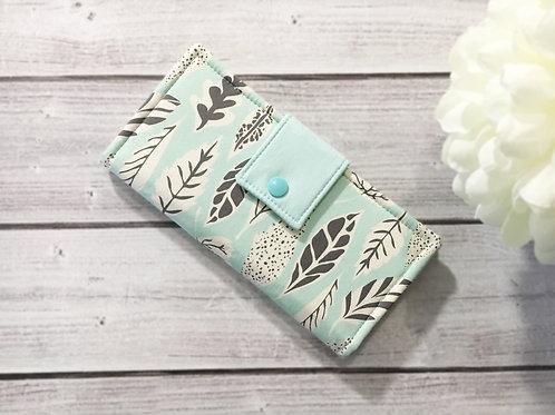 Women wallet,Leaflet Eucalyptus print,Slim Bifold wallets, Unique fabric wallet