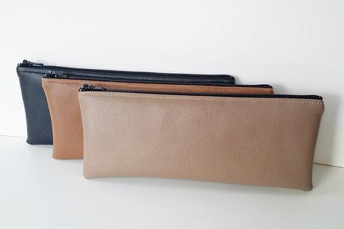Vinyl faux leather zipper pouch-Storage bags-Pencil case-Makeup bag