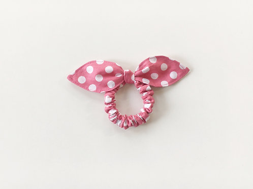 Pink knot  bow hair tie, Scrunchies ,Ponytail holder,Medium dot hair tie