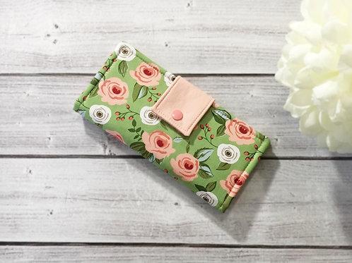 Womens wallet rose garden,Slim Bifold wallets, Unique fabric wallet