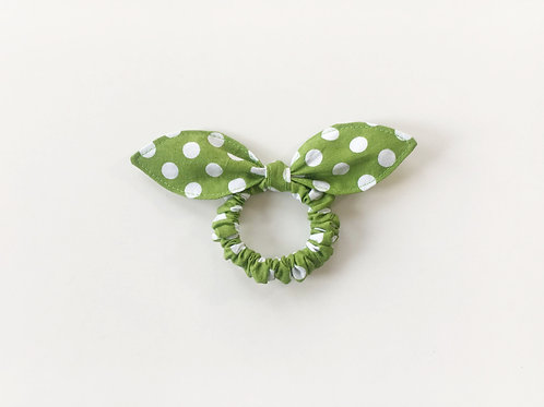 Scrunchies,Green knot bow hair tie,Ponytail holder,Medium dot hair tie