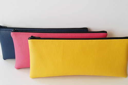 Vinyl faux leather zipper pouch-Pencil case-Makeup bag