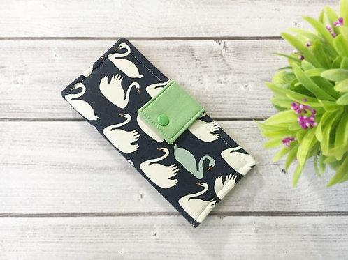 Women's wallet,Swan fabric clutch,Slim Bifold wallets,Unique fabric wallet
