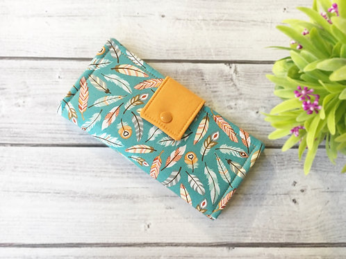 Women's wallet,Feather fabric clutch,Slim Bifold wallets,Unique fabric wallet